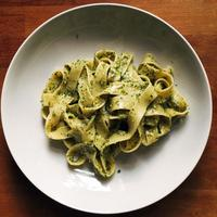 Ribbon pasta with flat leaf parsely pesto