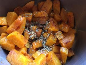 Cooked butternut squash ready to be mashed