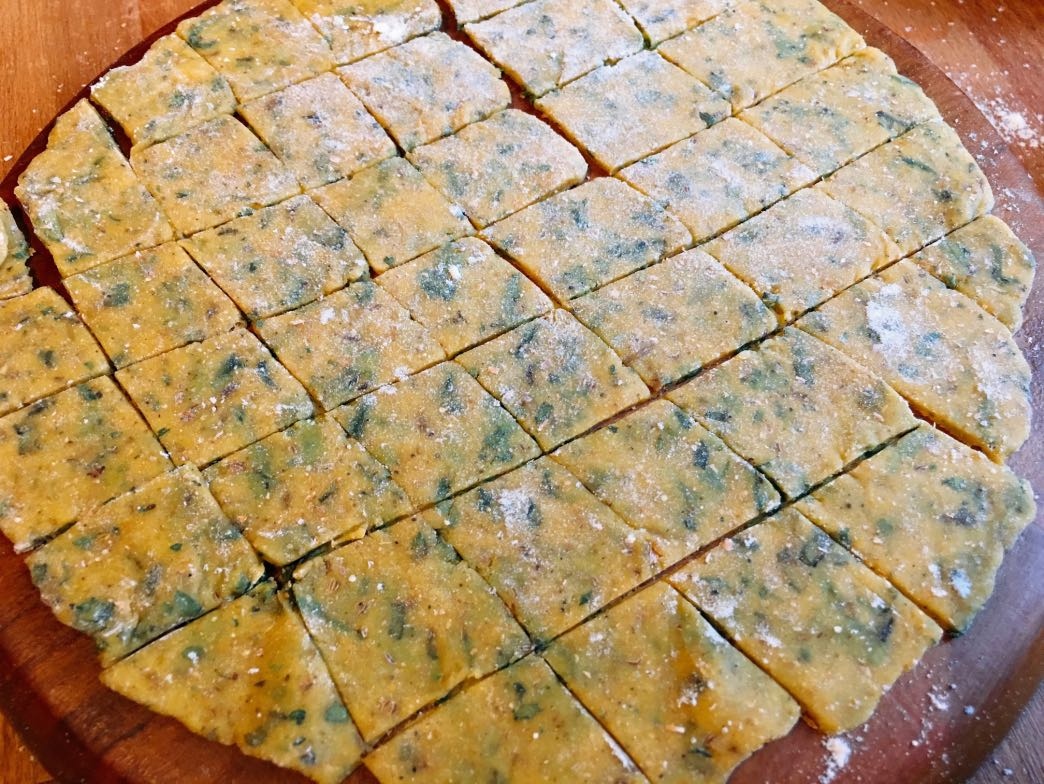Rolled dough cut into squares