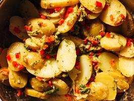 Potato slices and broccoli