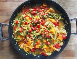 Slow food—leeks, french beans, sweet potato, split red lentils, peppers, cherry tomatoes