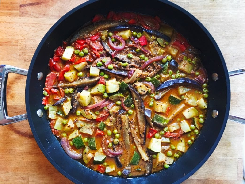 Aubergine, courgette, peppers and bean paste