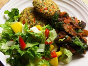 sweet potato blackeye flat leaf parsely basil bean burger meal